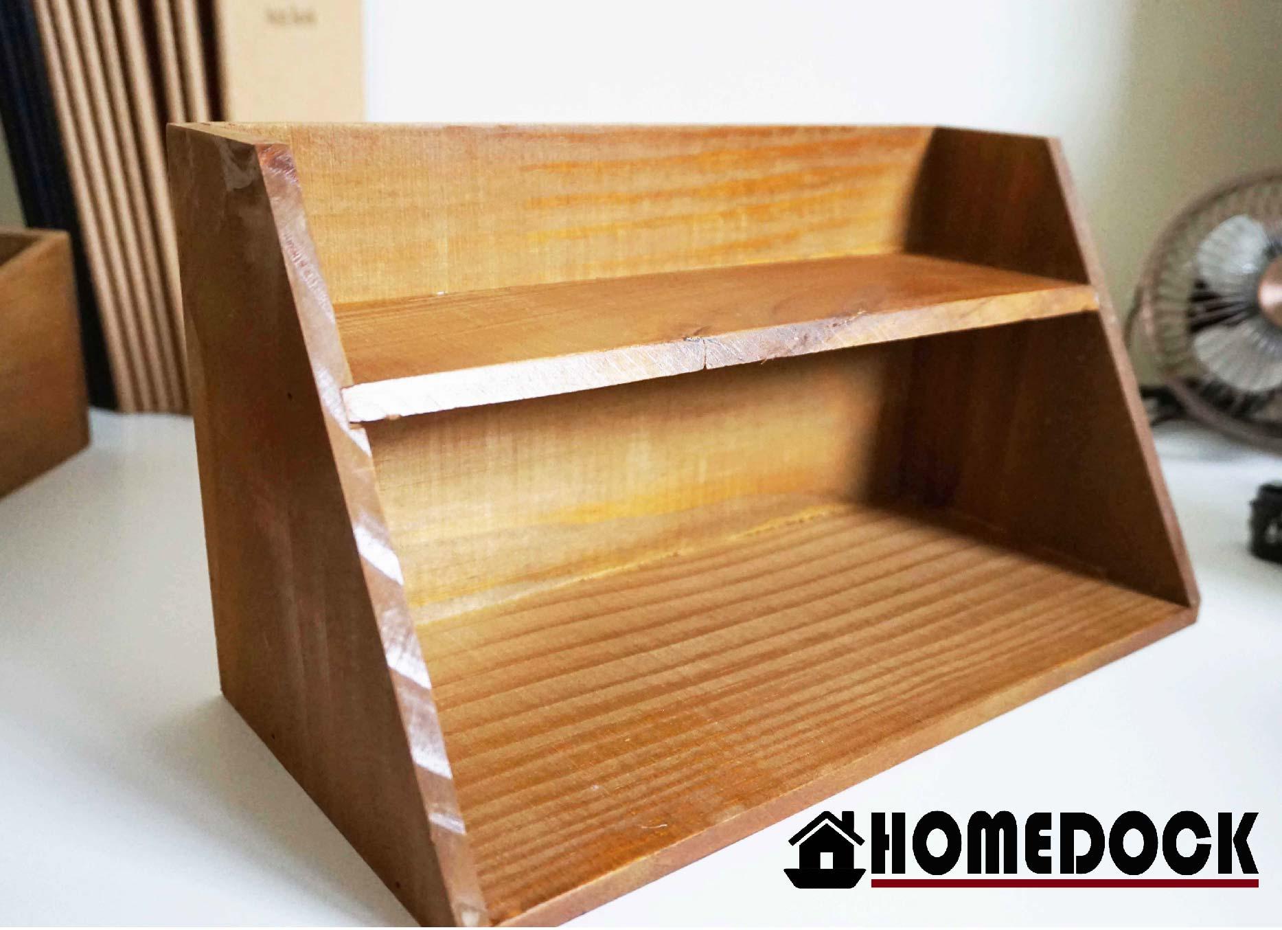 HOMEDOCK-原木質感雙層收納盒 /木櫃/置物櫃/Zakka/雜貨/原木製/層格櫃/抽屜/雙層