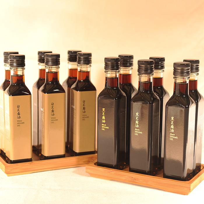 【SUPER SALE 限定免運超划算 買再送芝麻糕1盒】特選冷壓芝麻油(250ml/瓶) x2瓶(黑+白)