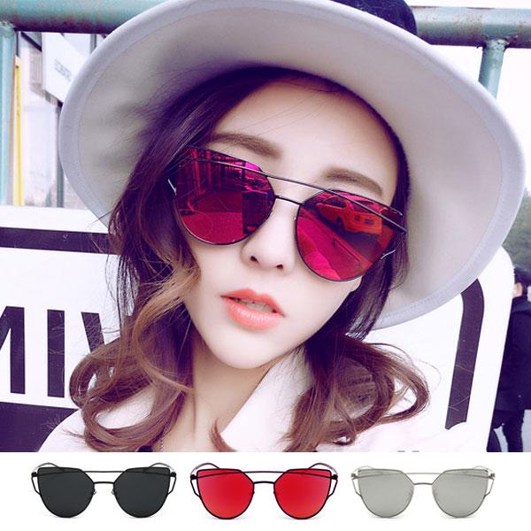 墨鏡 幾何貓眼 金屬多邊形大細框 造型設計反光鏡面 黑銀紅 GM明星男女 情侶 V正韓 太陽眼鏡 Anna S.