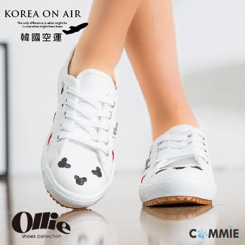 休閒布鞋-Ollie正韓米奇可愛撞色LOGO休閒鞋.寶貝窩.【OE2107】(預購)