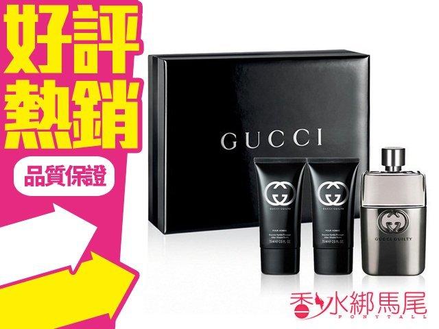 Gucci Guilty pour Homme 罪愛 男性淡香水 禮盒 (淡香水+鬍後乳 +沐浴精)◐香水綁馬尾◐
