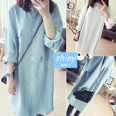 【V1357】shiny藍格子-秋戀頃心.百搭寬鬆顯瘦雙口袋長版襯衫