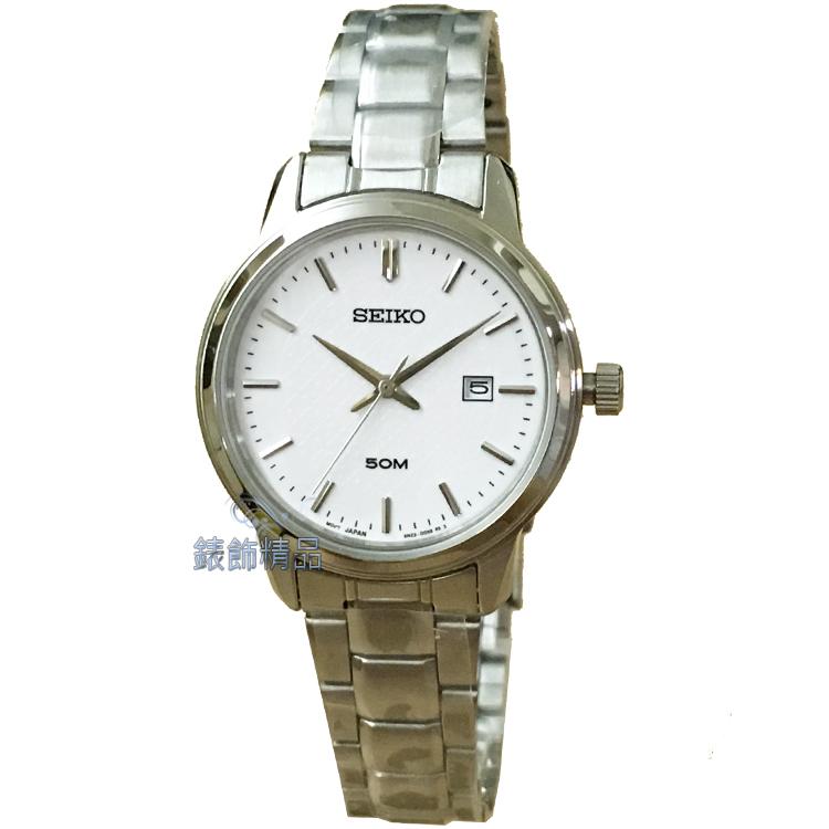 【錶飾精品】SEIKO錶 精工表 時尚淑女錶 細緻立體雕紋白面日期鋼帶 全新原廠正品 SUR751P1 生日情人禮物