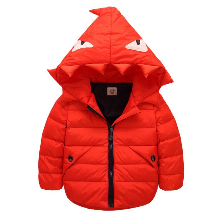 WallFree窩自在★兒童時尚小怪獸羽絨衣 保暖外套 男童 女童 (120)橘紅色