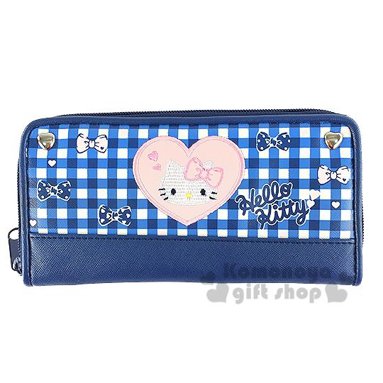 〔小禮堂〕Hello Kitty 皮質拉鍊長夾《藍格紋.愛心.蝴蝶結》