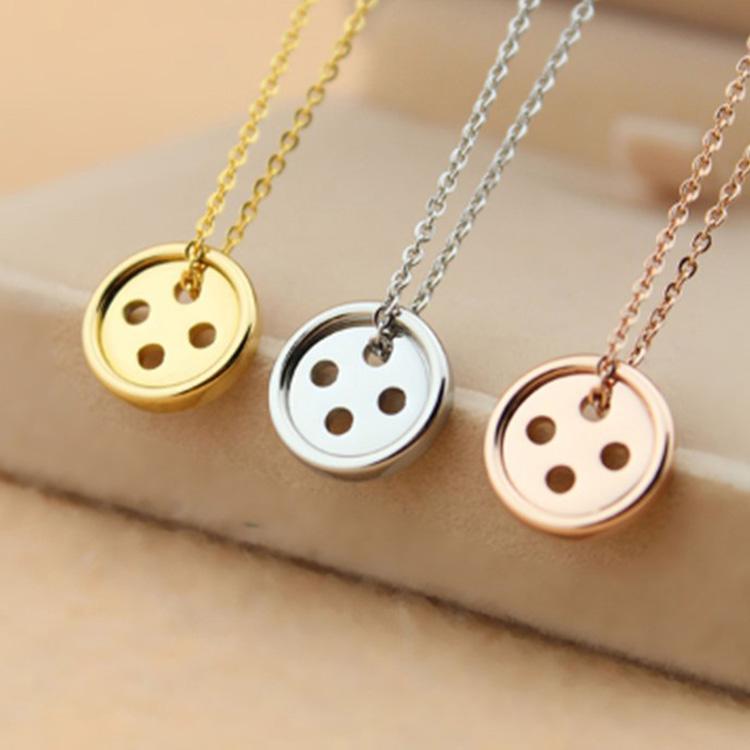最新款日韓風格時尚精美幸運鈕扣造型女款鈦鋼項鍊