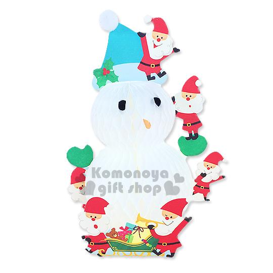 〔小禮堂〕可愛雪人 造型立體聖誕卡片《白.戴聖誕帽.多聖誕老人.》附信封