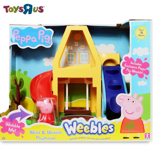 玩具反斗城 粉紅豬小妹不倒翁 -小屋溜滑梯組