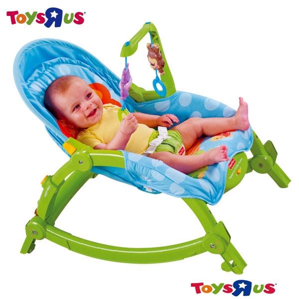 玩具反斗城 費雪可愛動物可攜式兩用安撫躺椅