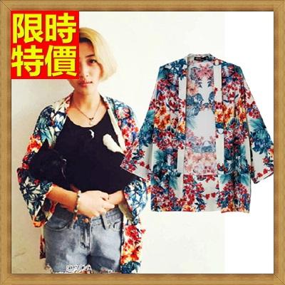 和服外套 和風女罩衫-日式復古花色七分袖防曬小外套68af31【日本進口】【米蘭精品】