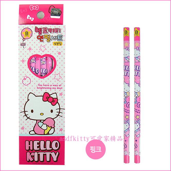 asdfkitty可愛家☆ KITTY粉色六角鉛筆組-4入-韓國製