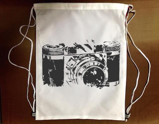 50年代『底片相機』束口袋後背包 防水帆布 輕便休閒