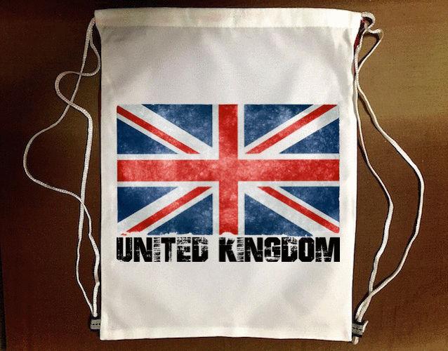 『英國國旗』束口袋後背包 防水帆布 輕便休閒