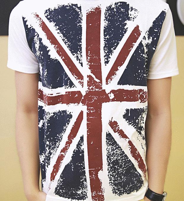 英國國旗印花手感設計 圓領棉質短袖潮T (白色)
