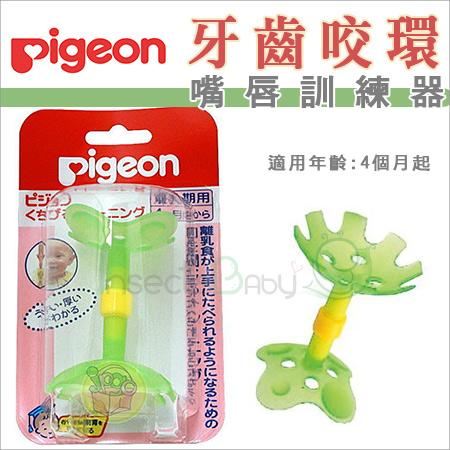 +蟲寶寶+   【日本 Pigeon】 貝親 日本製 牙齒咬環/嘴唇訓練/固齒器 綠色小花