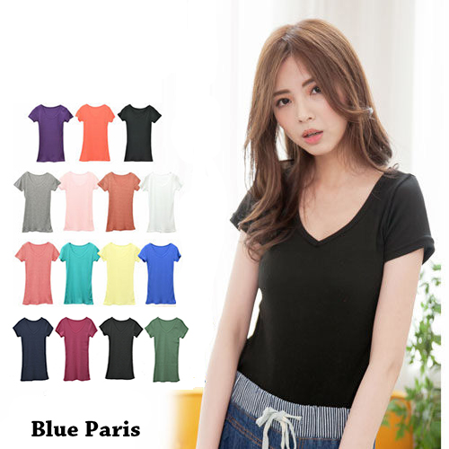 短袖T恤 - 羅紋棉V領素色上衣【23001】藍色巴黎《15色》現貨  MIT