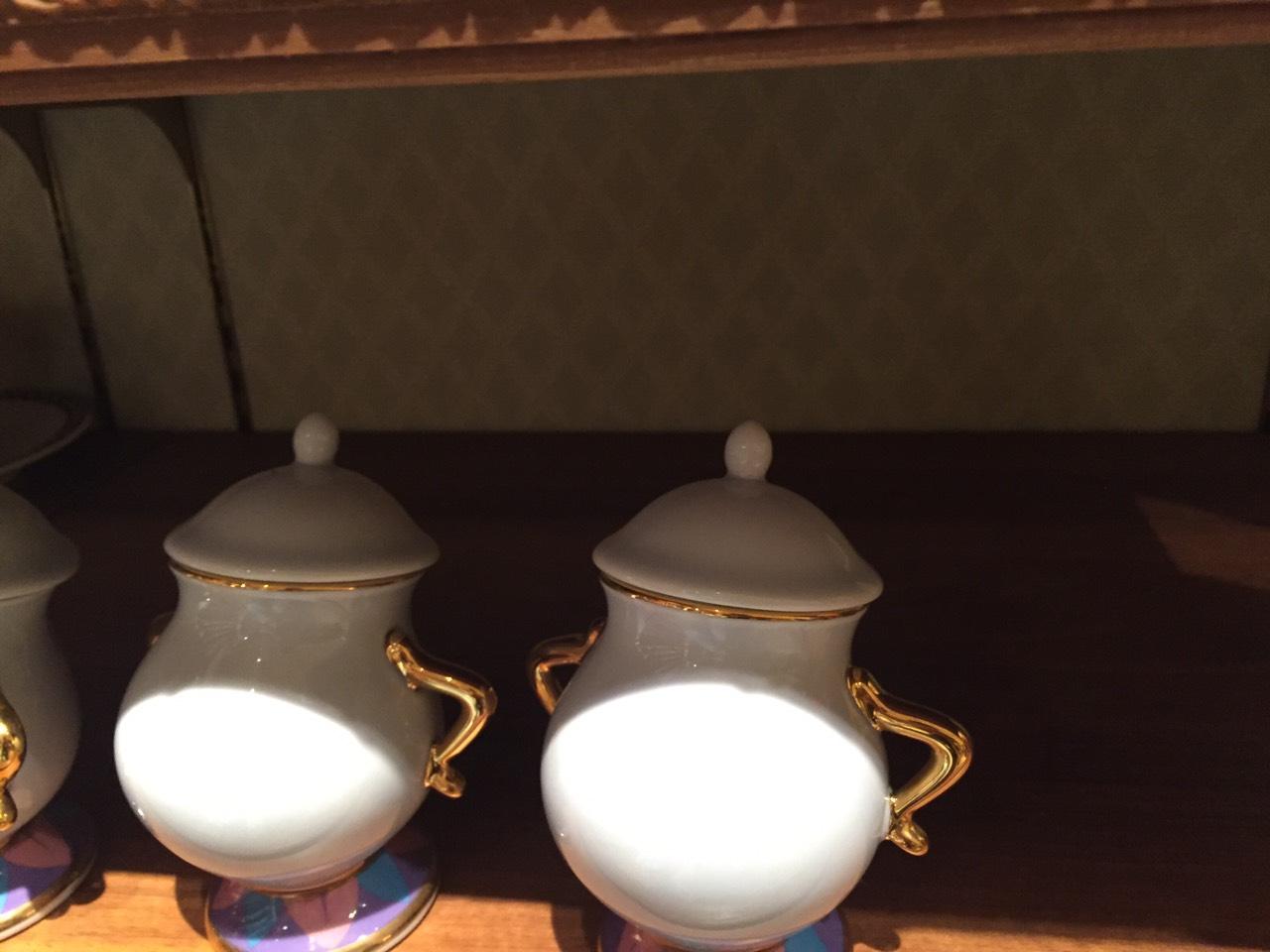 【真愛日本】16030900028 日本製樂園限定-經典瓷糖罐 ˙阿奇杯 茶壺媽媽 美女與野獸 迪士尼帶回 糖罐