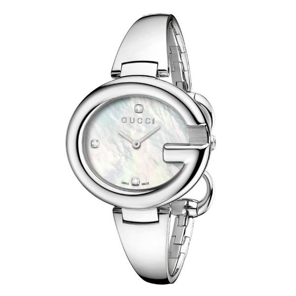 Gucci 古吉YA134303真鑽經典G型手環時尚腕錶/白貝面36mm