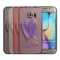 Ultimate- Samsung S6 Edge 可愛鑽兔 帶鑽軟質支架保護殼 三星手機保護套 手機背蓋 手機殼 果凍保護套 保護軟殼
