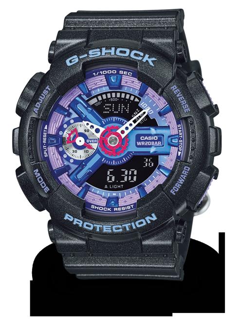 國外代購 CASIO G-SHOCK 縮小系列 GMAS110HC-1 黑藍紫 防水 手錶 腕錶 電子錶 男女錶