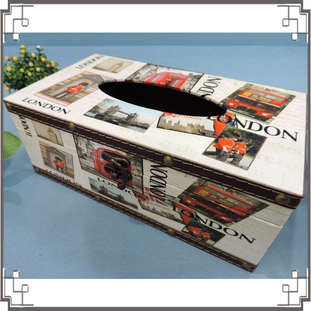 木製帆布面紙盒《PA17》英倫風面紙盒 居家布置 新居落成 送禮◤彩虹森林◥