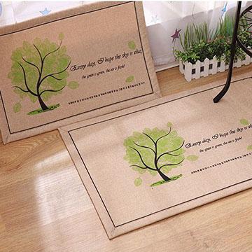 WallFree 夏季款~韓系超唯美吸水防滑地墊/門墊/地毯-韓國綠樹 (40X60)