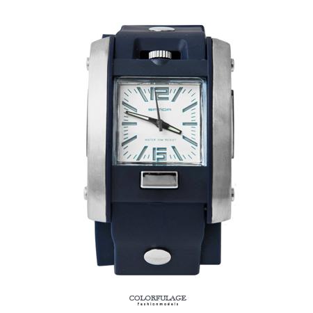 手錶 粗曠深藍色系冷光指針設計腕錶 帥氣釘扣裝飾 透氣矽膠錶帶 柒彩年代【NE1632】型男必備