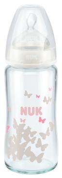 『121婦嬰用品館』NUK 寬口徑玻璃奶瓶 - 240ml (1號中圓洞)