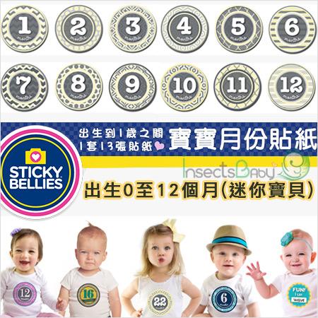 +蟲寶寶+【美國Sticky Bellies  】新生寶寶創意好禮-寶寶月份貼紙0-12M-(迷你寶貝)《現+預》