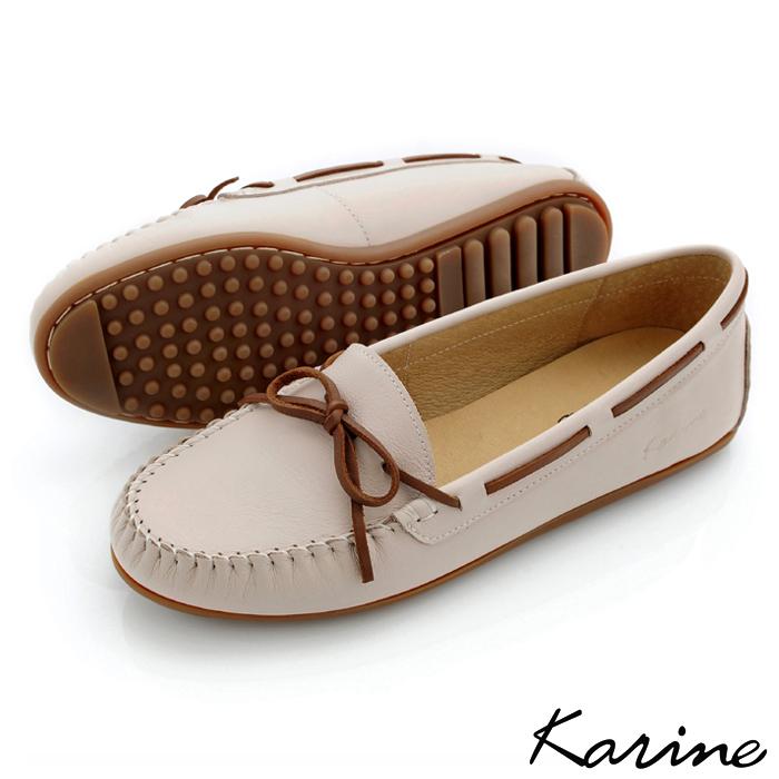 karine(MIT台灣製)全真皮綁帶馬克豆豆鞋-草莓牛奶