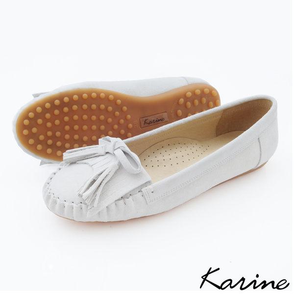 karine(MIT台灣製)全真皮流蘇綁帶莫卡辛平底鞋-天使白