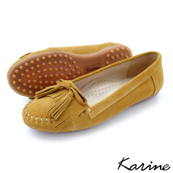 karine(MIT台灣製)全真皮流蘇綁帶莫卡辛平底鞋-黃芥末