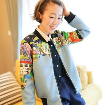 棒球外套 短款夾克-印花寬鬆韓版拉鏈太空棉女外套72aq22【獨家進口】【米蘭精品】