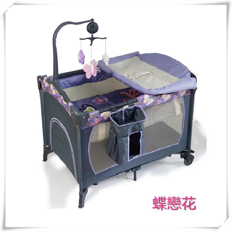 多功能遊戲床 嬰兒床 摺疊床 攜帶嬰兒床 附尿布台 音樂鈴 蚊帳