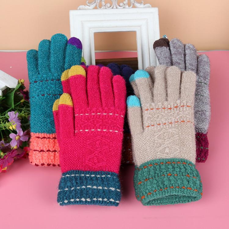 女士撞色冬季保暖加厚觸控手套《不挑色》 A-6820
