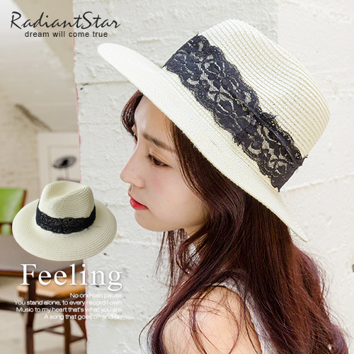 韓國白色綺想徜徉希臘黑蕾絲草帽【C047】璀璨之星☆