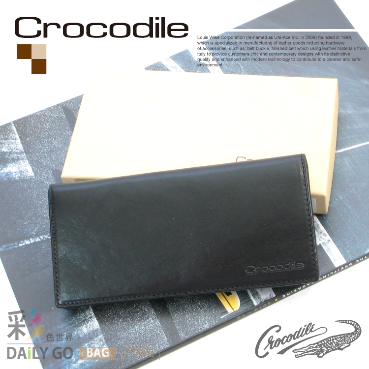 長夾 Crocodile 鱷魚 NATURAL原皮系列 拉鍊 長皮夾-黑 0103-58011