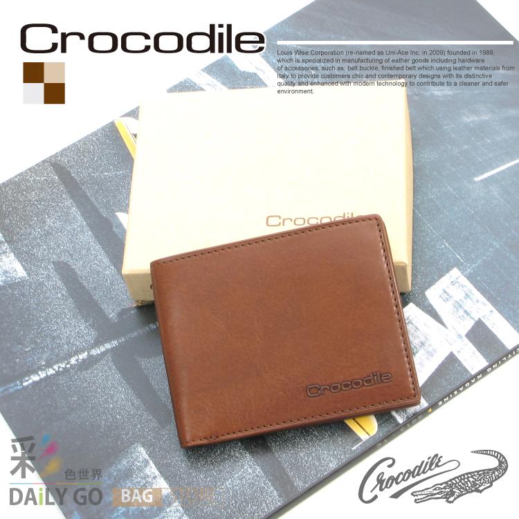 短夾 Crocodile 鱷魚 進口真皮 NATURAL系列 原皮 短皮夾-咖啡 0103-58052