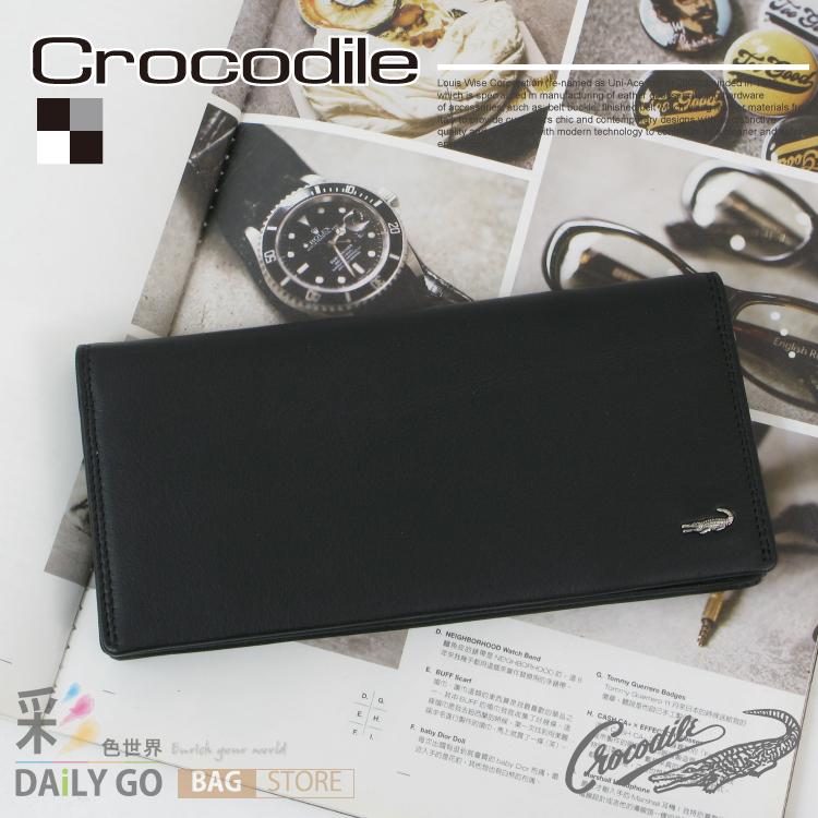 長夾 Crocodile 鱷魚 進口真皮 Wind系列 長皮夾-黑【0103-56511】禮物推薦