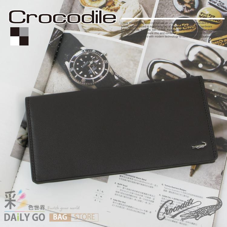 長夾 Crocodile 鱷魚 進口真皮 Wind系列 長皮夾-咖啡 0103-56512 禮物推薦