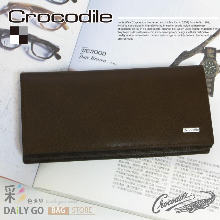 長夾 Crocodile 鱷魚 進口真皮 Wind系列 長皮夾-深咖啡 0103-59103
