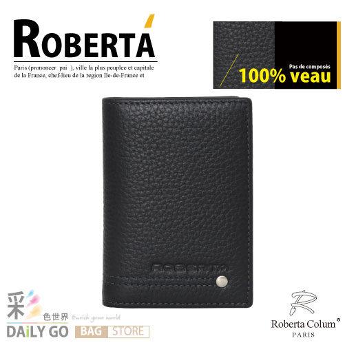 諾貝達 卡文 Roberta Colum 鉚釘軟牛皮 名片夾-黑 RM-23159-1A