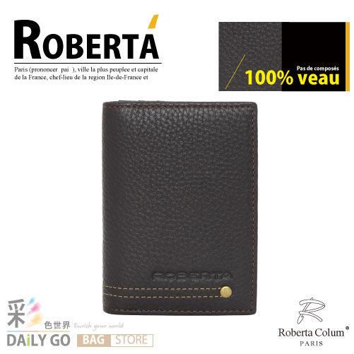 諾貝達 卡文 Roberta Colum 鉚釘軟牛皮 名片夾-咖啡 RM-23159-2A