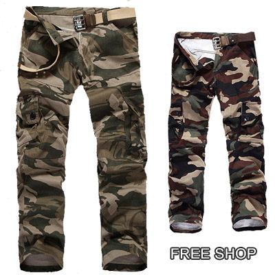 Free Shop【QTJBK4】美式街頭軍裝風格機能多口袋迷彩休閒長褲工作長褲‧二色 有大尺碼
