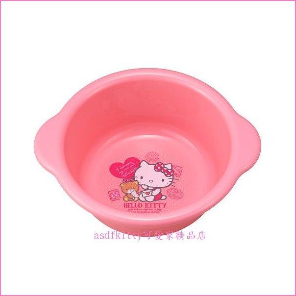 asdfkitty可愛家☆KITTY泰迪熊粉小臉盆/水瓢/置物桶-訓練幼童洗澡.洗臉好幫手-日本製