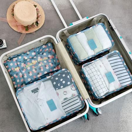 韓版 印花旅行收納袋超值六件組 防水 收納 整理 便攜 行李 出國 分類袋【N201180】