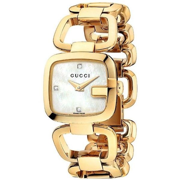 Gucci 古吉YA125513經典方G手環美鑽時尚腕錶/珍珠母貝面24*22.5mm