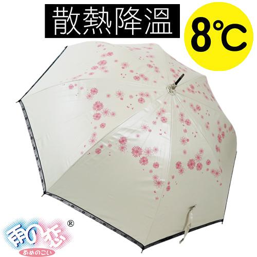 ◆日本雨之戀◆ 降溫8℃直自動傘-日羽織 「米白內黑 」遮陽傘/雨傘/晴雨傘/降溫傘