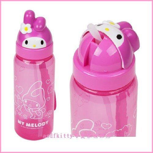 asdfkitty可愛家☆美樂蒂大臉造型吸管水壺500ML-可當學習杯-幼兒園好用歐-日本正版商品