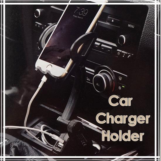 【3.5~6.4 吋】雙USB點煙器手機支架/萬用車架/車上固定架/手機架/車用展示支架/可充電